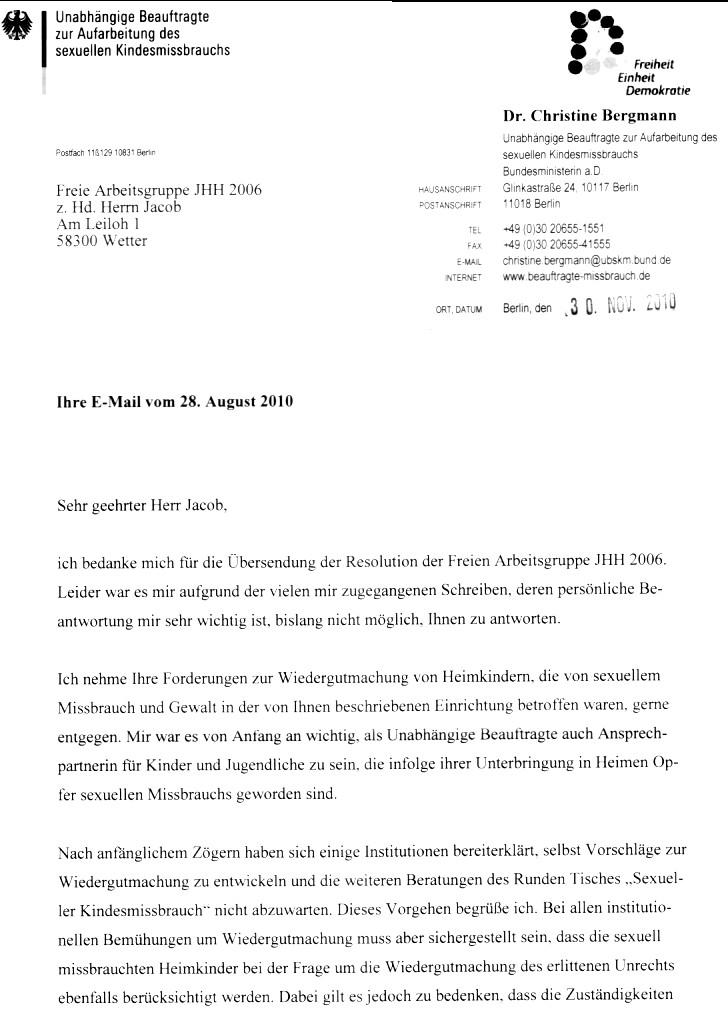 Persönliche Briefe Beispiele : Runder tisch sexueller missbrauch bergmann